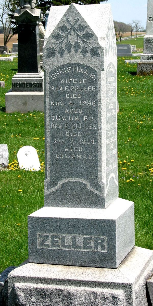Paul and Christina Zeller's grave stone