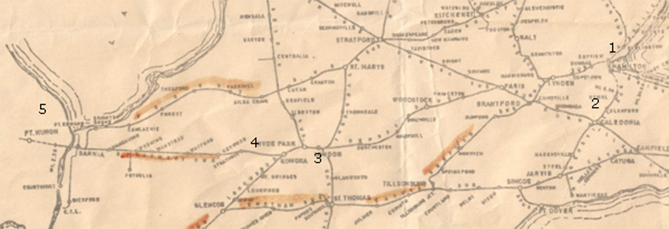 Railroad map of southern Ontario