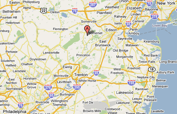 Map showing Somerset NewJersey